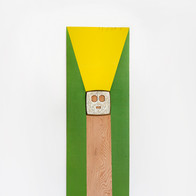 no title, 2013 paint, found object on wood 40.25 x 12.5 in.