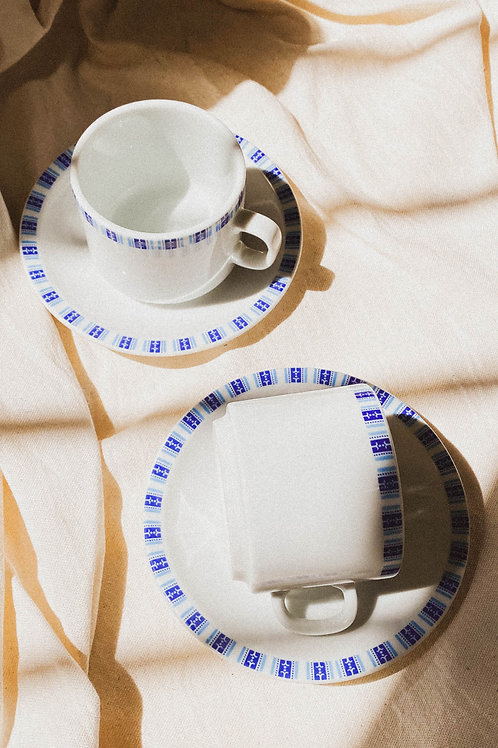 Tazas Checkered blue x2