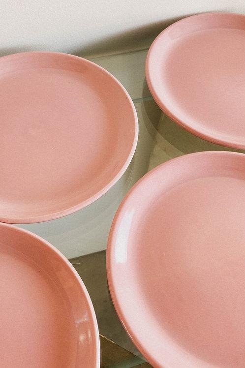 Platos de postre rosados x 2