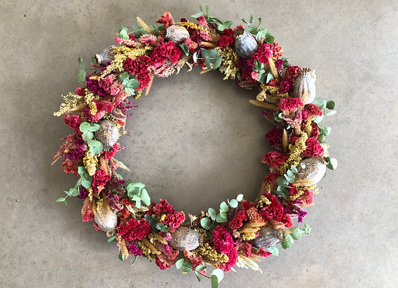 Large Flower Wreath: Pink & Gold