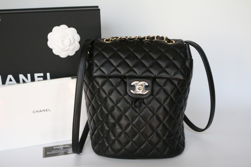 chanel urban spirit backpack. authentic chanel black calfskin quilted small urban spirit backpack with shiny light gold hardware. gorgeous and super sought after!