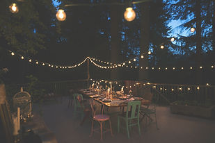 Outdoor seating with fairy lights