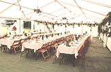 Long wedding tables with flowers