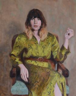 Freya in Green Silk Dress