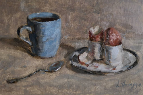 Still life with eggs and coffee