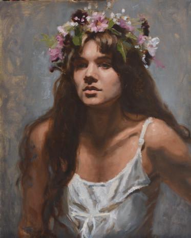 Lady in floral head dress