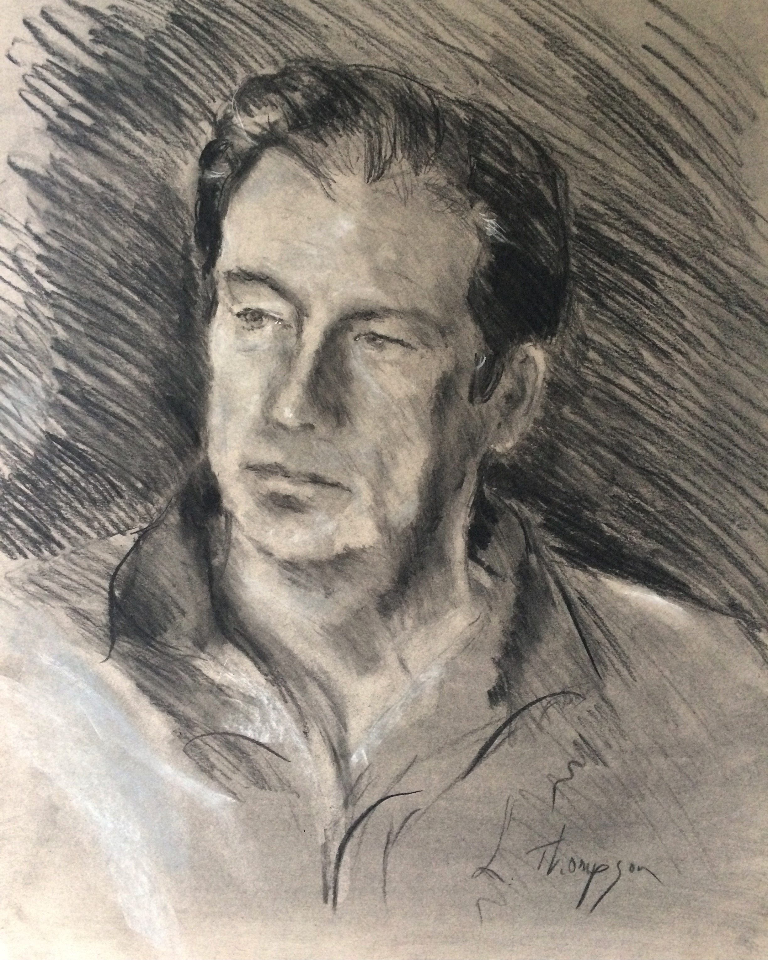 charcoal sketch of dad from life