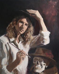 Self Portrait with Skull and Hat