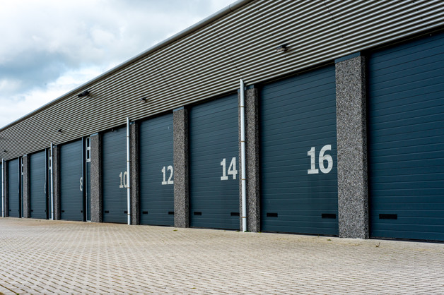 Grey unit storage warehouse facility wit