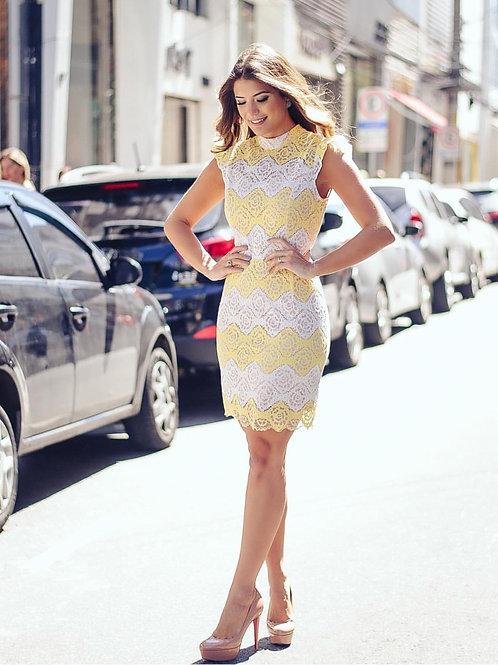 Vestido Renda Midi Bicolor