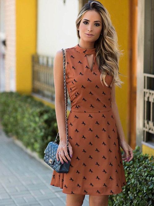 Vestido Estampa Cavalinhos