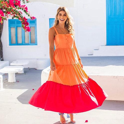 Vestido Tricoline Bicolor