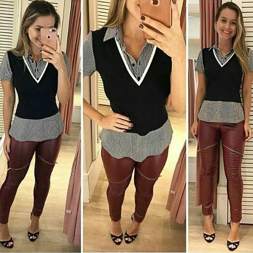 Sobreposição com Camisa Listrada