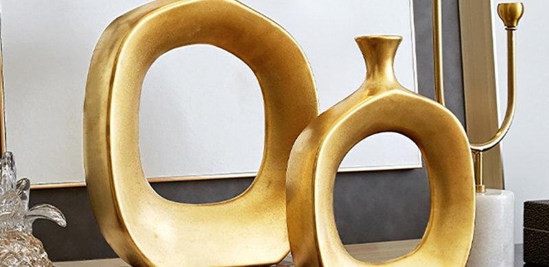 Golden Hollow Vase Luxury Art Ceramic Decoration