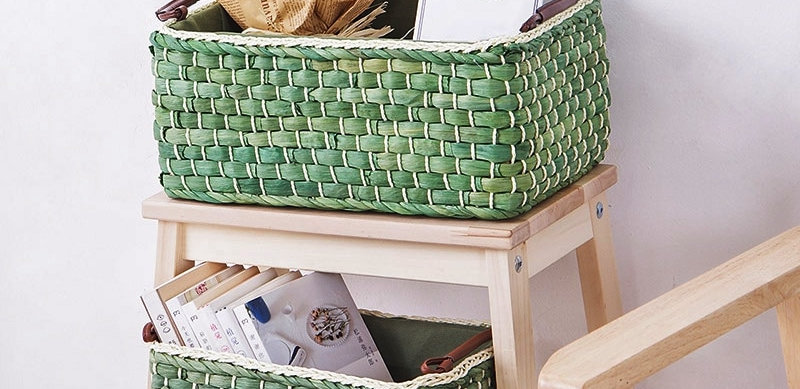 Green Woven Storage Box For Desktop/Garden/Kitchen