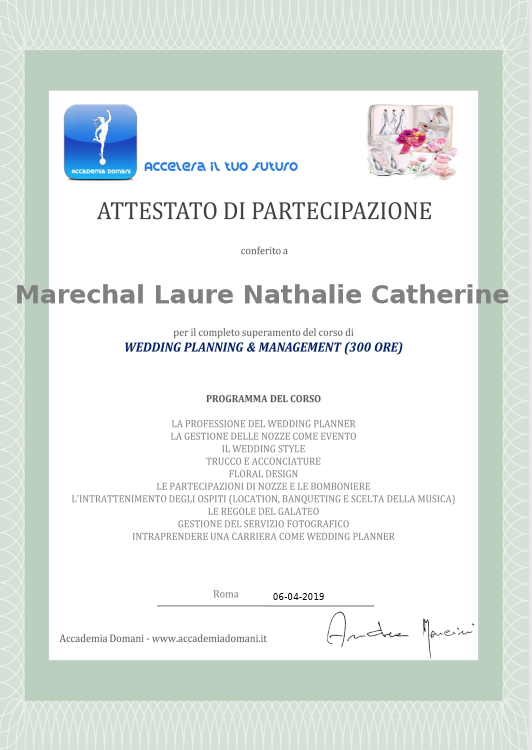 Corso di Wedding planning & Management