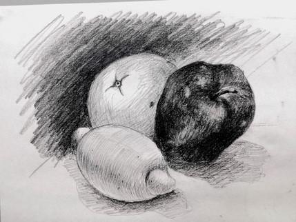 Fruit - A Pencil Drawing | 生果鉛筆素描