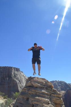 Sid jumping in Southern Utah