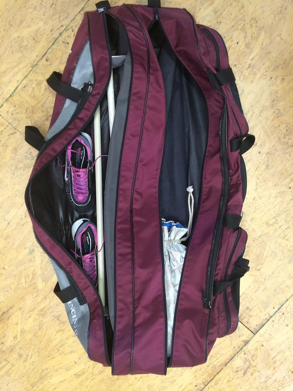 All gear in fencing bag