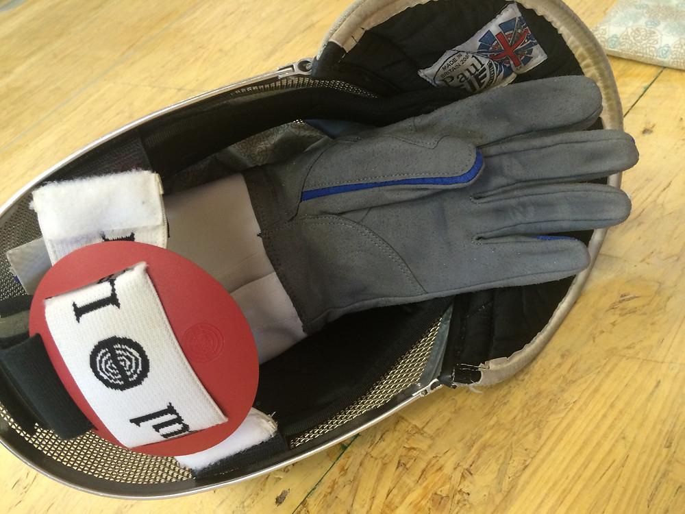 Cord bag, glove, and cuff in mask