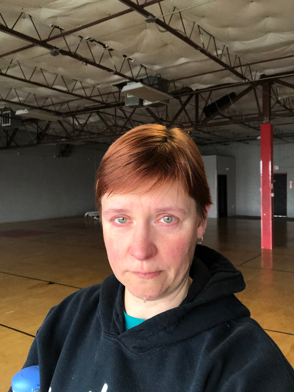 kate in empty club