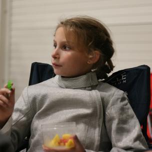 Mylene eating a snack