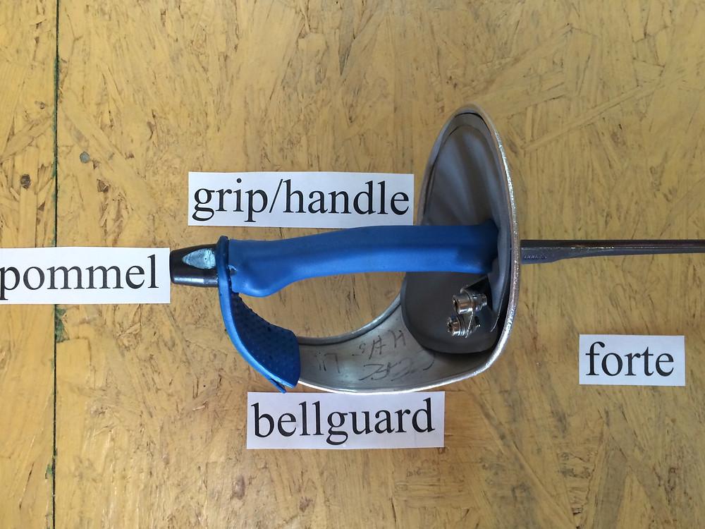 Bellguard, grip/handle, and pommel