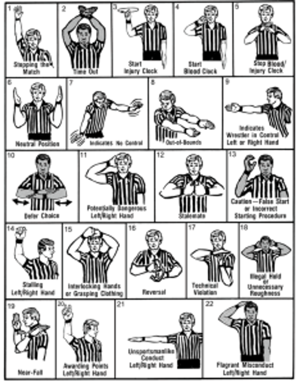 Wrestling referee signals