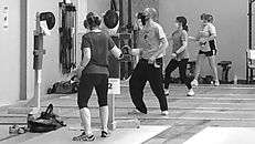 Adult fencers at practice