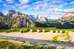 Italian Dolomites landscape and parking