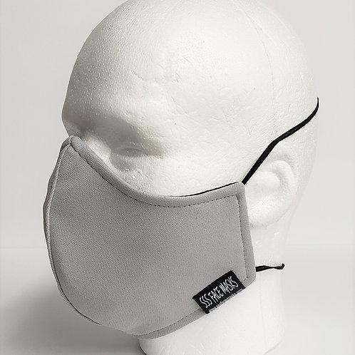Baseball Solid Silver Grey Athletic Knit- Plain Mask