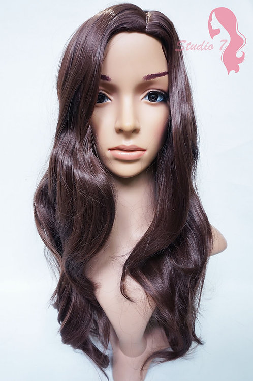 W38 Chocolate Brown Long Wavy Synthetic Wig