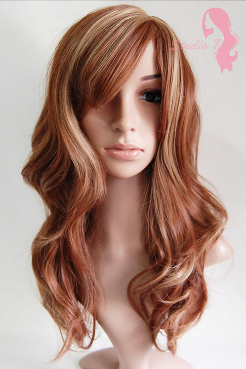 W28 Auburn Blonde Mix Highlight Wavy Synthetic Wig