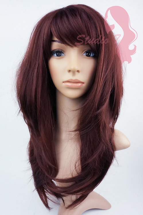 W142 Red Brown Long Wavy Layered