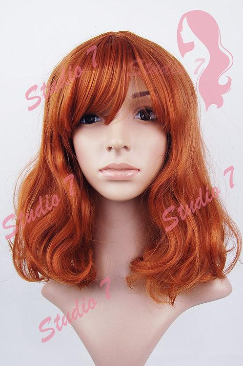 W159 Bright Auburn Mid Length Wavy Straight Fringe  Wig