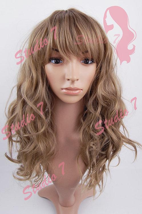 W179 Caramel Ash Brown Medium Length Wavy Wig
