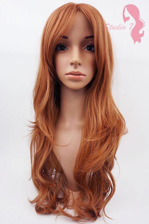 W96 Light Ginger Auburn Mix Wavy Long Wig
