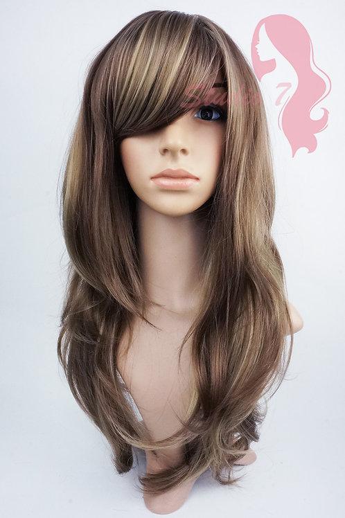 W123 Chocolate Blonde Highlight Long Wavy Wig