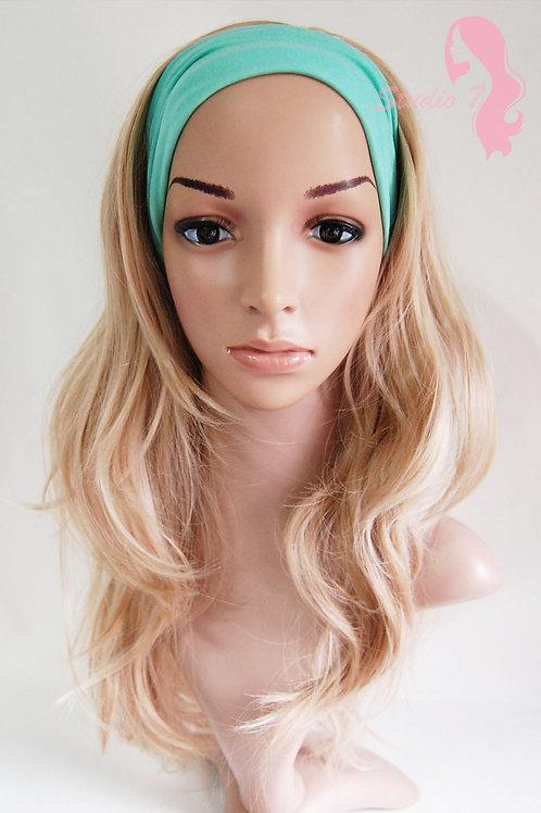 W54 Honey Blonde Mix Wavy 3/4 Wig Clip In Hair Piece