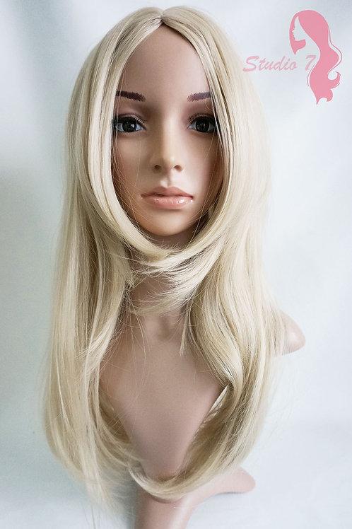 W75 Ash Bleach Blonde Mix Long Straight Wig