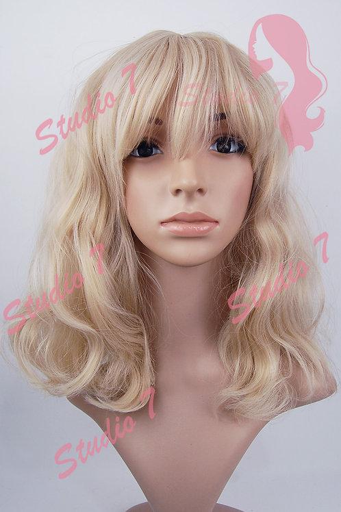 W161 Ash Blonde Mid Length Wavy Straight Fringe  Wig