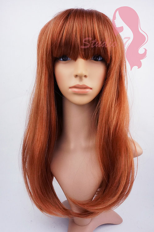 W109 Auburn Mix Straight Fringe Ladies Wig
