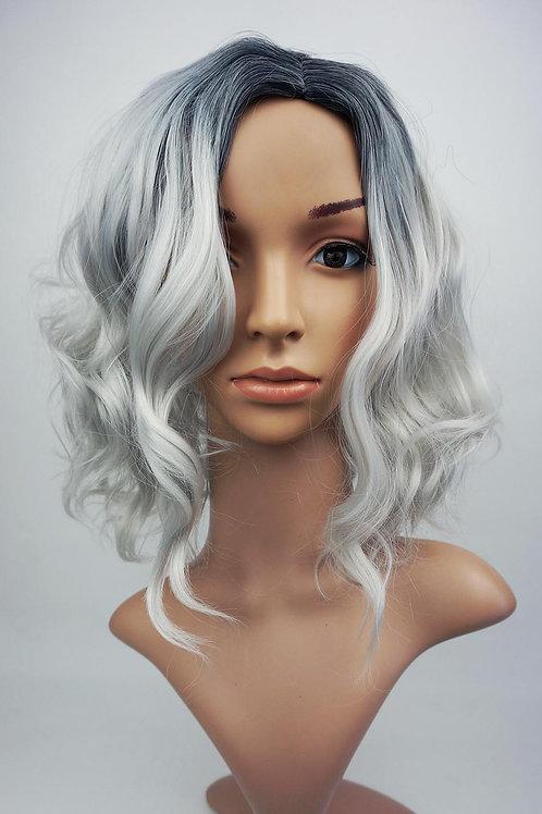W108 Silver Black Roots Shoulder Length Wavy Wig