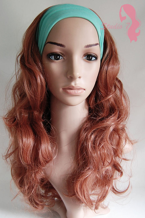 W42 Light Auburn Ginger Mix Curly 3/4 Wig Clip In Hair Piece