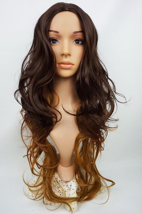 W113  Dark / Golden Brown Ombre Extra Long Wavy Skin Top Wig