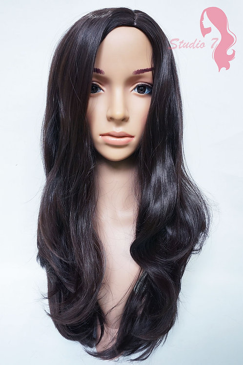 W39 Dark Brown Long Wavy Synthetic Wig