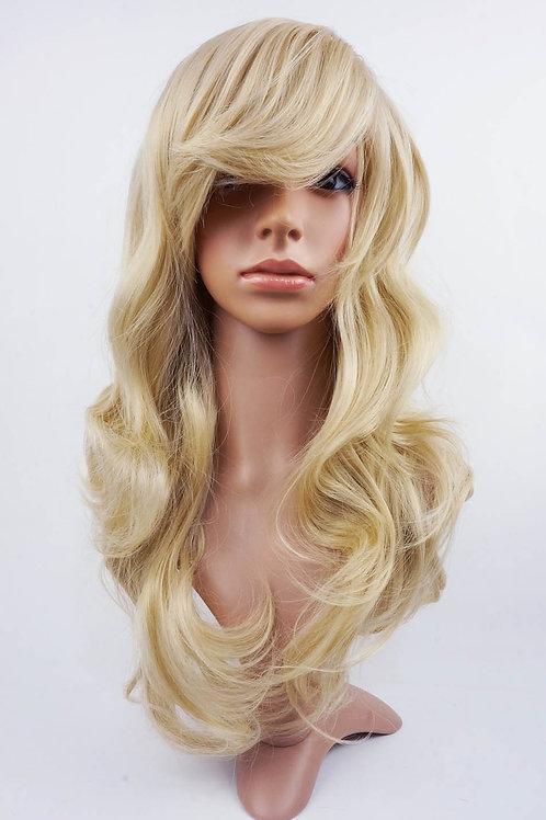 W4 Ash Blonde Long Wavy Skin Top Wig