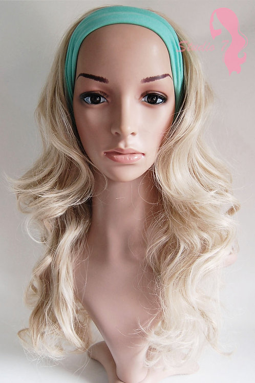 W41 Ash Blonde Curly 3/4 Wig Clip In Hair Piece