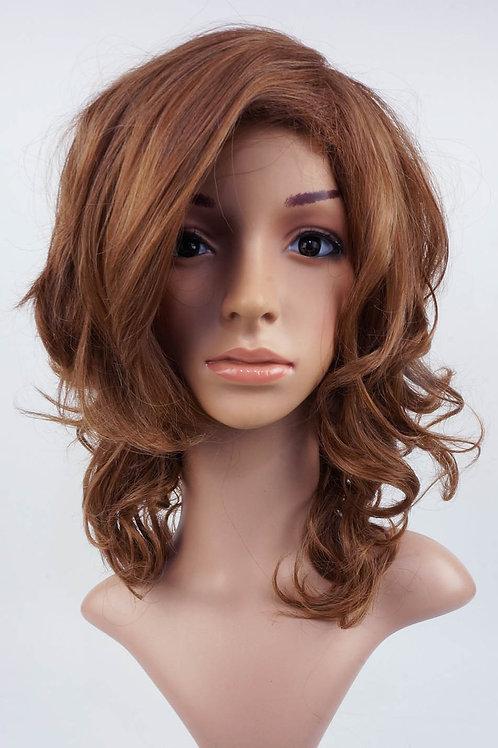 W13  Ash Brown Mix Layered Wavy Medium Length Wig
