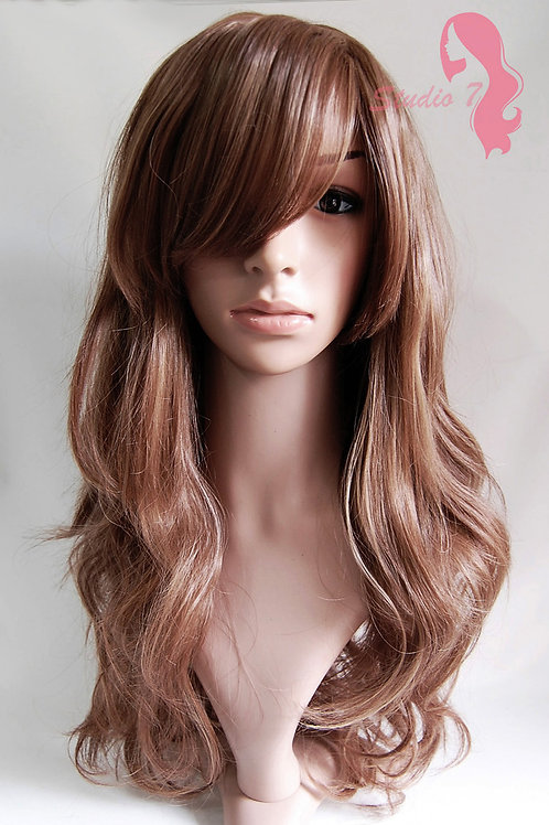 W3 Mid Brown Mix Long Wavy Skin Top Wig